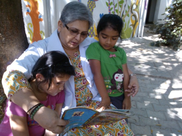 Children love to be read aloud to at Bangalore International School.
